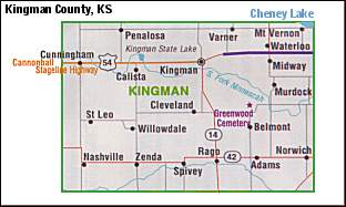 A map of Kingman, Kansas and the surrounding area